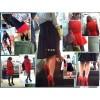 女性が身に着けている赤いアイテムに無性に興奮して追跡観察