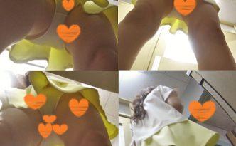 【会社の休み時間 盗撮】巻き髪OLのセクシー白パンティーをゲット!